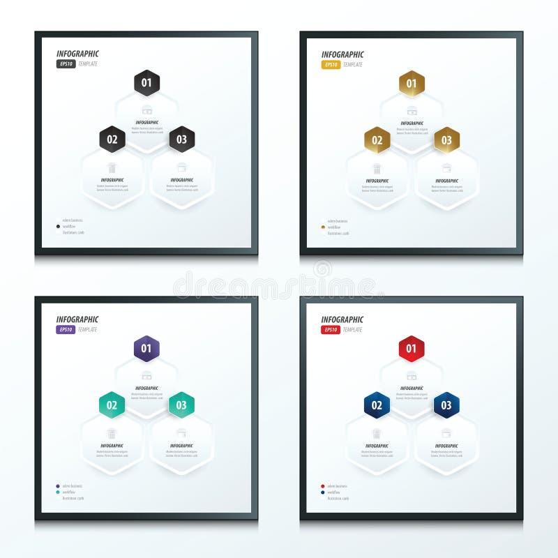 Hexagon infographic σύνολο 2 χρώματος απεικόνιση αποθεμάτων