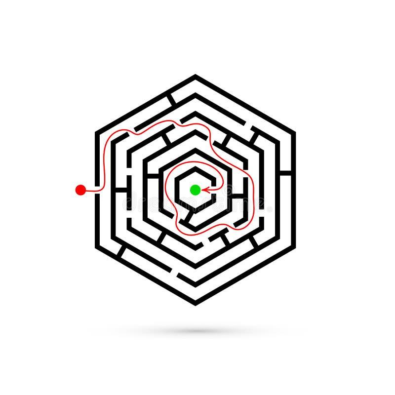 Hexagon labyrint met manier te centreren royalty-vrije illustratie