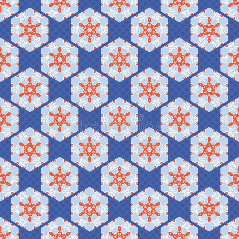 Hexagon Lapwerk Dot Seamless Vector Pattern van de jaren '50stijl Volksart quilt stock illustratie
