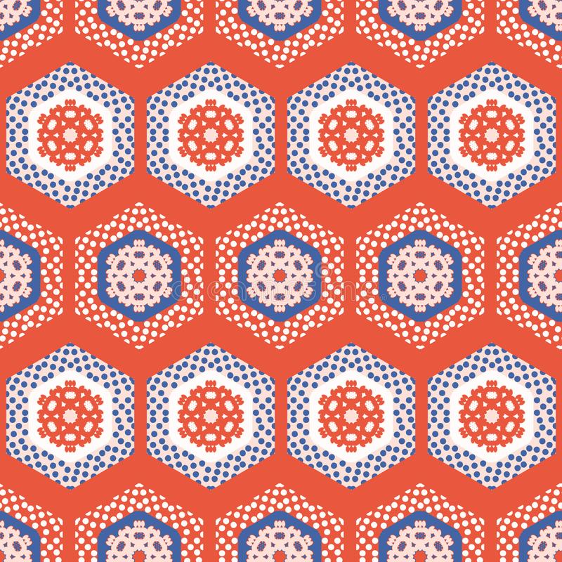 Hexagon Lapwerk Dot Seamless Vector Pattern van de jaren '50stijl Volksart quilt stripes vector illustratie