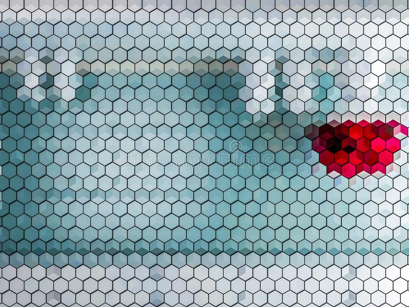 Hexagon light and red color tile abstract stock image
