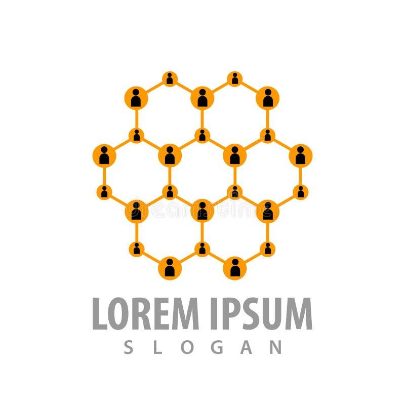 Hexagon line people network logo concept design. Symbol graphic template element vector royalty free illustration