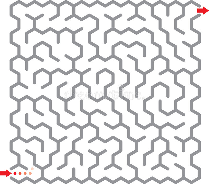 Hexagon maze vector illustration