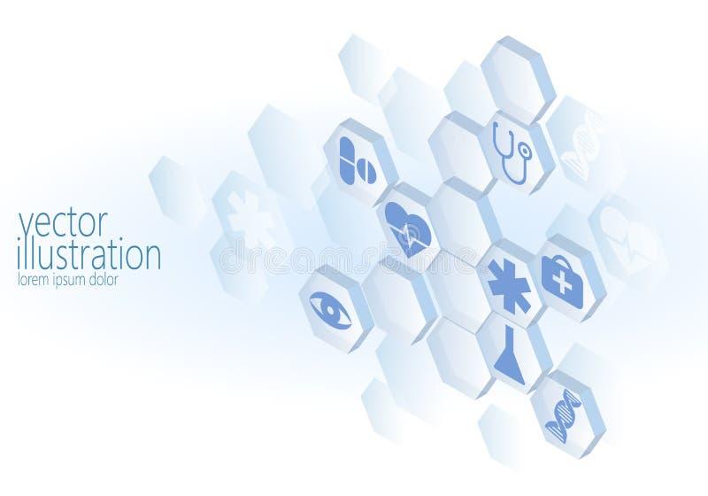 Hexagon medical flat icon set. Ambulance innovation medicine center poster business design element. Isometric 3D stock illustration