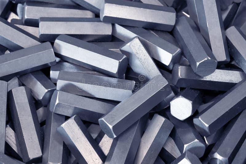 Hexagon metaaldetails stock foto's