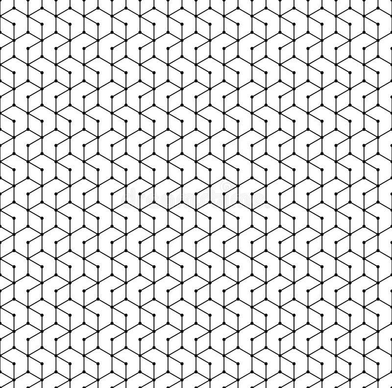 Hexagon naadloos patroon Het zwart-wit geometrische veelhoeknet stippelde eindeloze vectortextuur vector illustratie