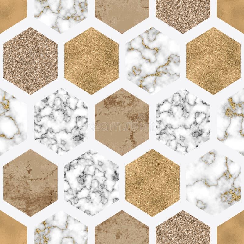Hexagon naadloze patroon met digitaal marmeren document, glanzende gouden folie, zilver schittert textuur stock illustratie