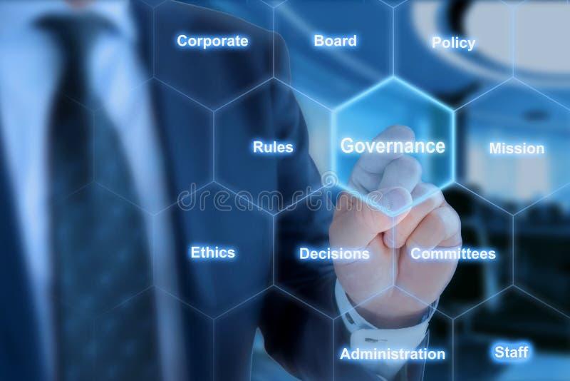 Hexagon netbestuur klikt van zakenman royalty-vrije stock foto