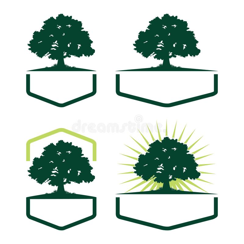 Hexagon Oak Tree Ecology Silhouette Logo Variation stock illustration