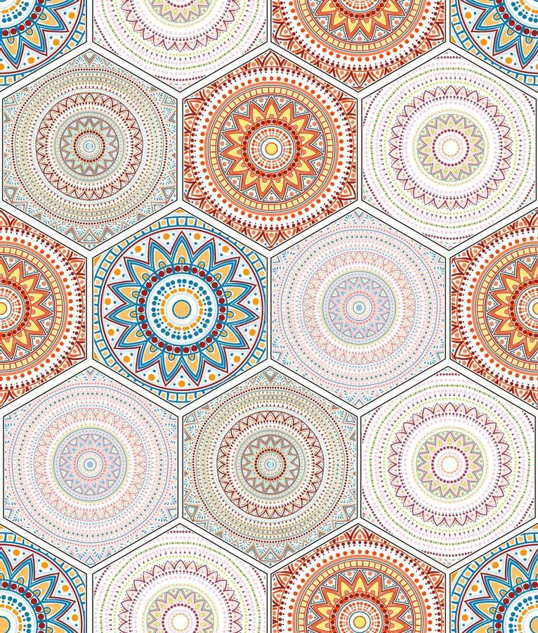 hexagon ontwerpelementen met marokkaans motief 75139911 - Behang Marokkaans Motief