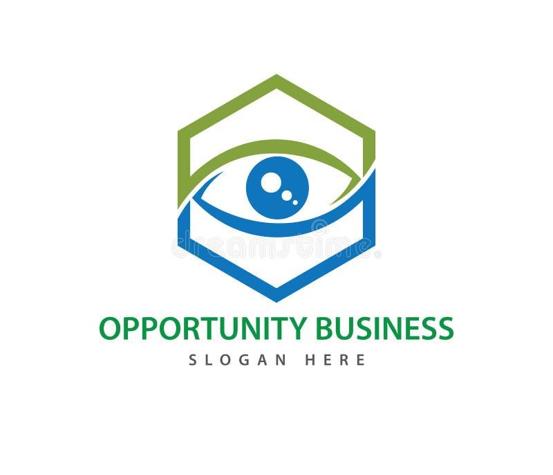 Hexagon optical technology eye future vision vector logo design stock illustration