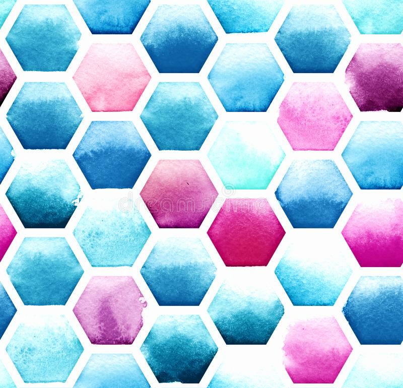 Hexagon pattern of blue and magenta colors on white background. Watercolor seamless pattern royalty free illustration