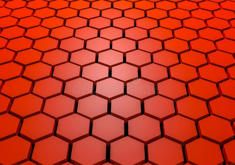 Hexagon pattern. Honeycomb texture. Abstract blue background. 3d rendering. royalty free stock photos