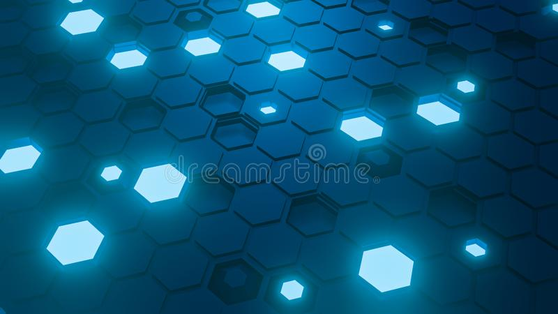 Hexagon pattern. Honeycomb texture. Abstract blue background. 3d rendering. royalty free stock photography