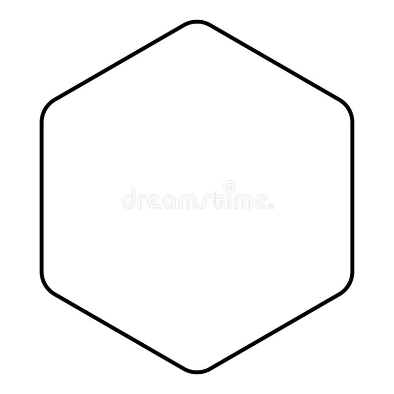 Hexagon with rounded corners icon black color outline vector illustration flat style image. Hexagon with rounded corners icon black color outline vector vector illustration