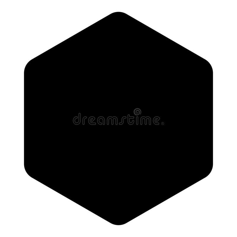 Hexagon with rounded corners icon black color vector illustration flat style image. Hexagon with rounded corners icon black color vector illustration flat style royalty free illustration