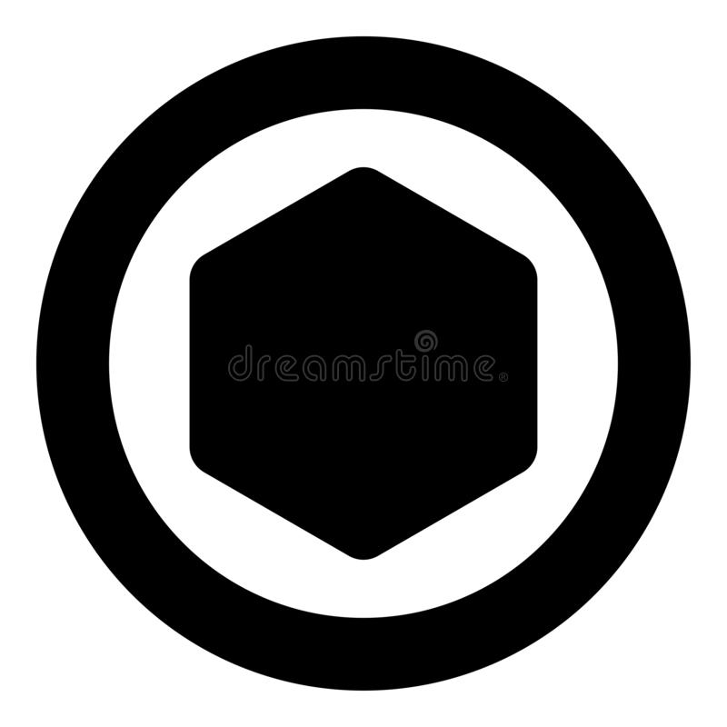 Hexagon with rounded corners icon in circle round black color vector illustration flat style image. Hexagon with rounded corners icon in circle round black color royalty free illustration