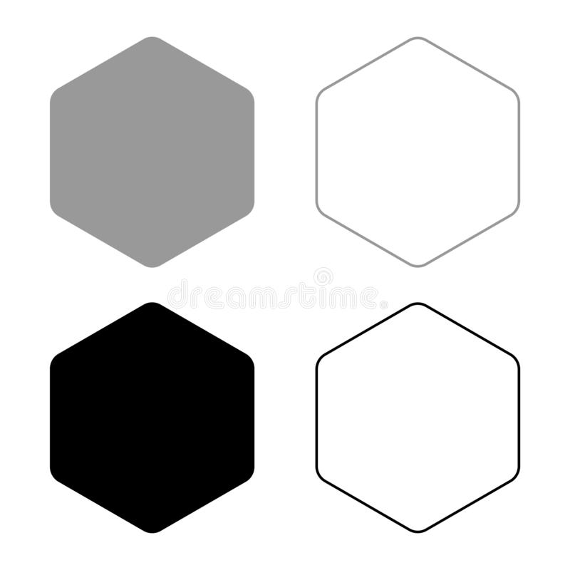 Hexagon with rounded corners icon set black color vector illustration flat style image. Hexagon with rounded corners icon set black color vector illustration stock illustration