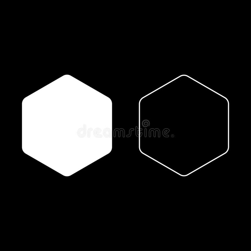 Hexagon with rounded corners icon set white color vector illustration flat style image. Hexagon with rounded corners icon set white color vector illustration royalty free illustration