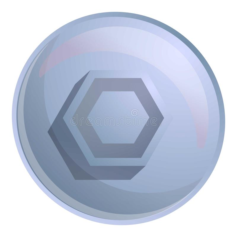 Hexagon screw head icon, cartoon style. Hexagon screw head icon. Cartoon of hexagon screw head vector icon for web design isolated on white background stock illustration