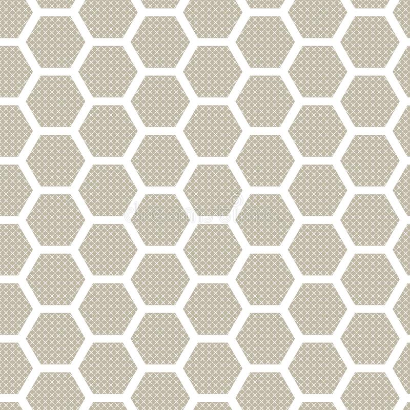 Hexagon seamless patter. Abstract background. Beige colour vector illustration