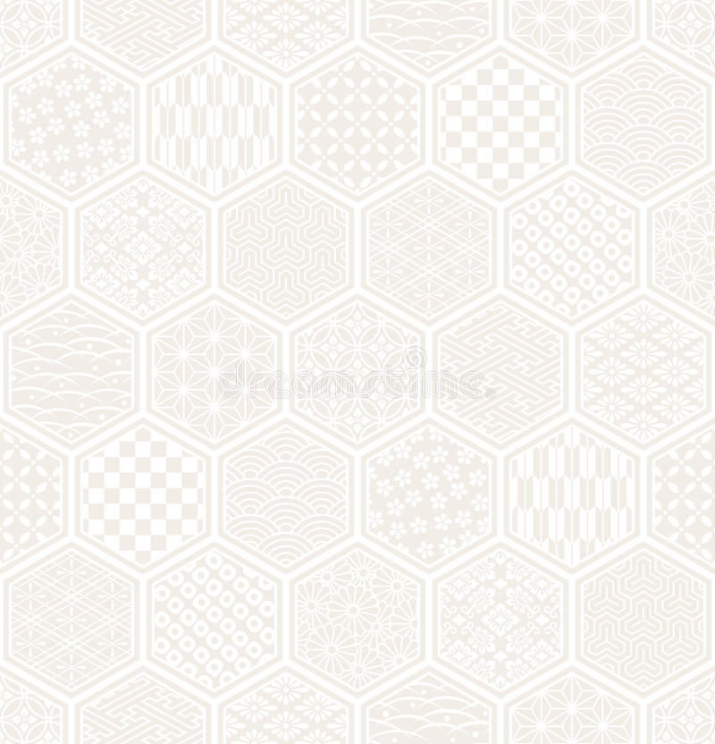 Download Hexagon Seamless Pattern With Japanese Traditional Design. Stock Vector - Image: 37264368