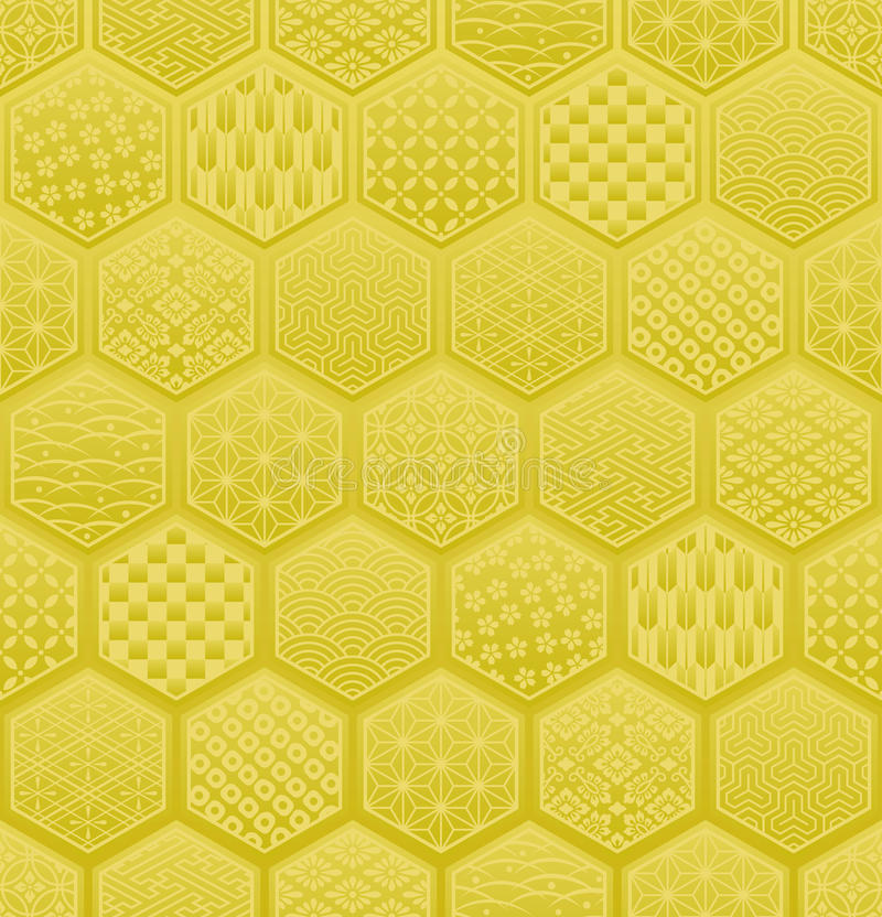 Hexagon seamless pattern with Japanese traditional design. stock illustration