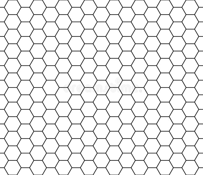 Hexagon seamless pattern texture. Black honeycomb line repeatable on white background, stroke editable. royalty free illustration