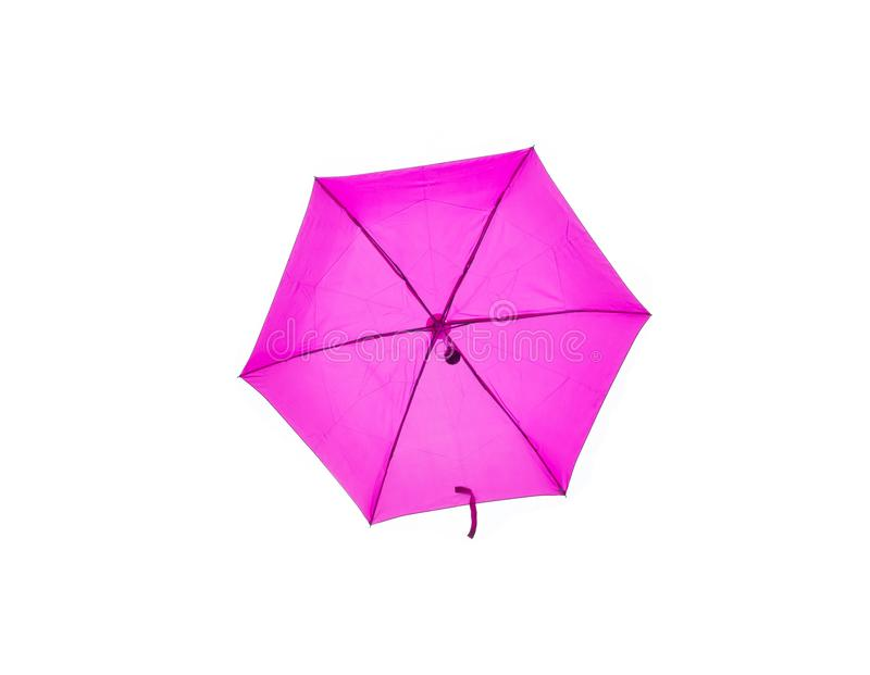Hexagon shape pink umbrella isolated on white background. A Hexagon shape pink umbrella isolated on white background stock photo
