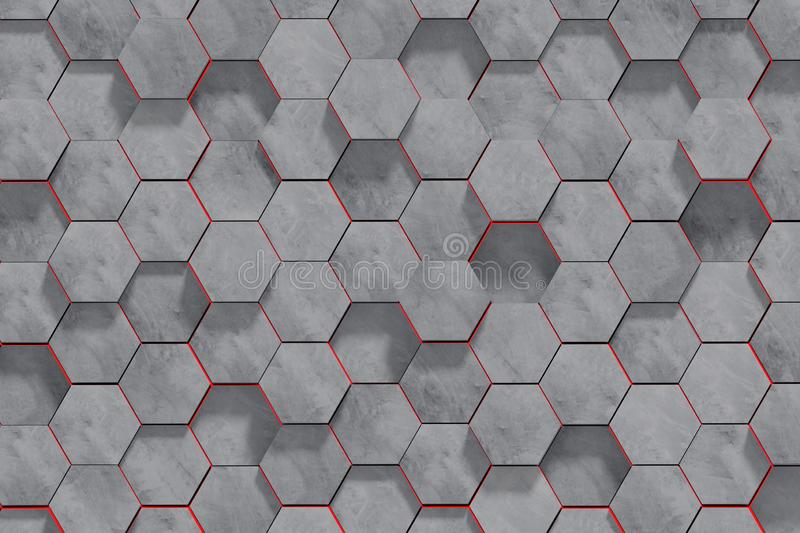 Hexagon Shaped Concrete Blocks Wall Background. Perspective View. 3D Illustration. Abstract architecture art backdrop black concept dark decoration design royalty free illustration
