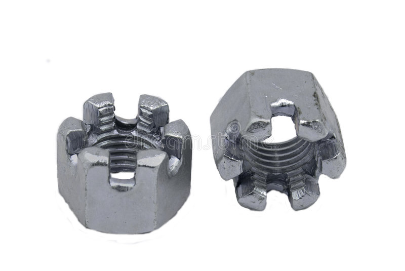 Hexagon slotted nuts stock images