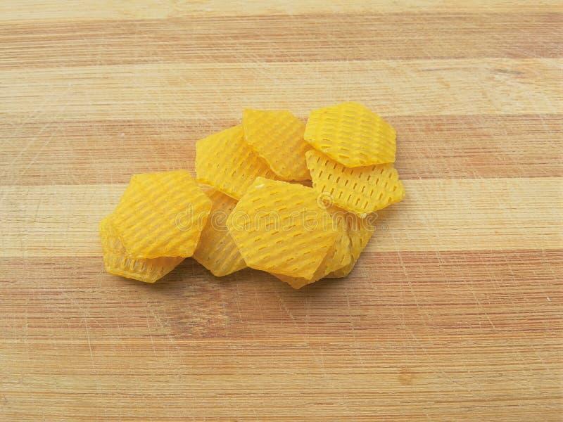 Hexagon snack pellets stock photography