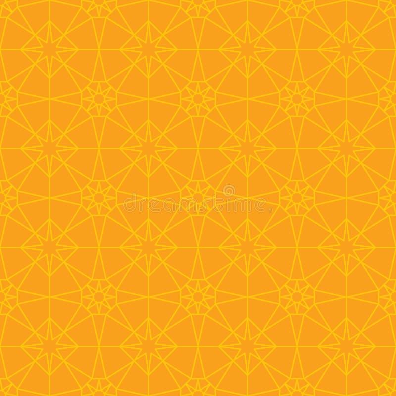 Hexagon star symmetry orange yellow seamless pattern vector illustration