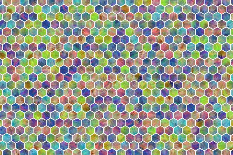 Hexagon strip colorful pattern, texture for design background. stock illustration