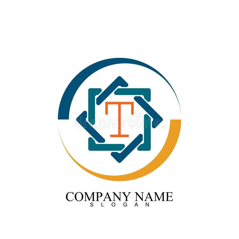 hexagon t letter icon illustration vector template stock photo