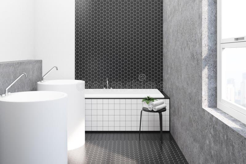 Hexagon tegel witte en zwarte badkamers, gootstenen stock illustratie
