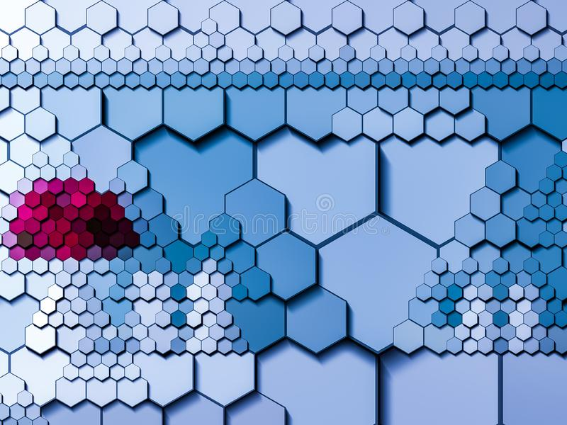 Hexagonal geometrical mosaic multi-size tile template abstract stock photos