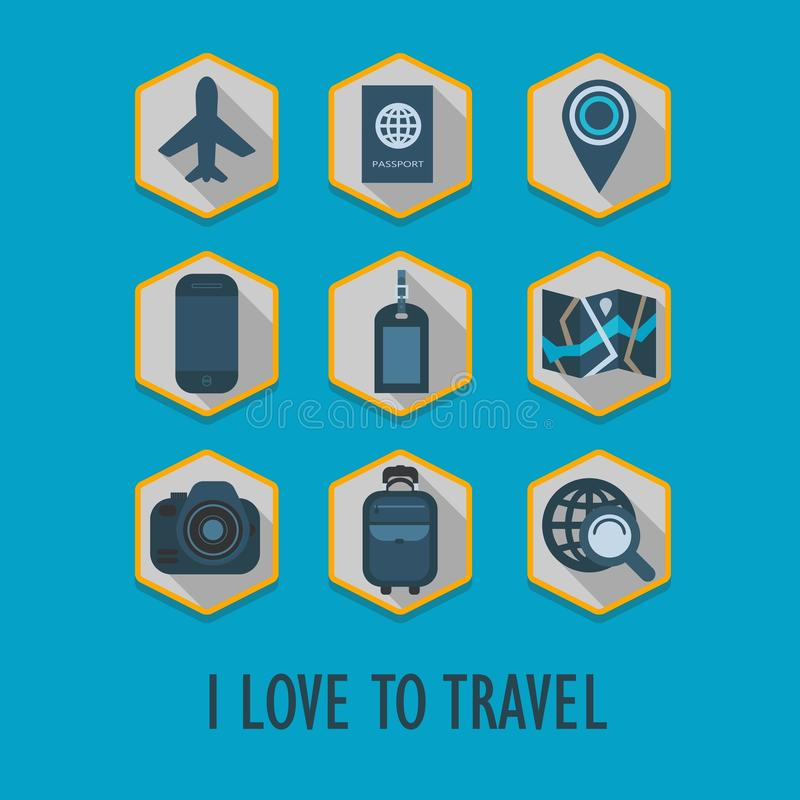 Hexagon travel icons set with long shadow vector illustration