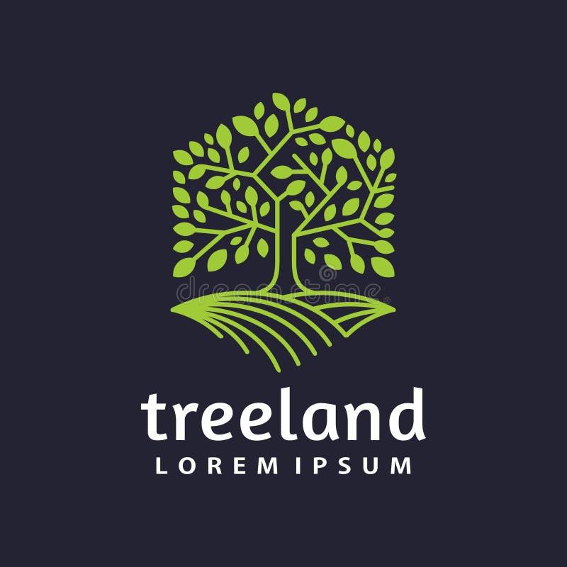 Hexagon van het het embleempictogram van het boomland Vector van de het etiketillustratie vector illustratie