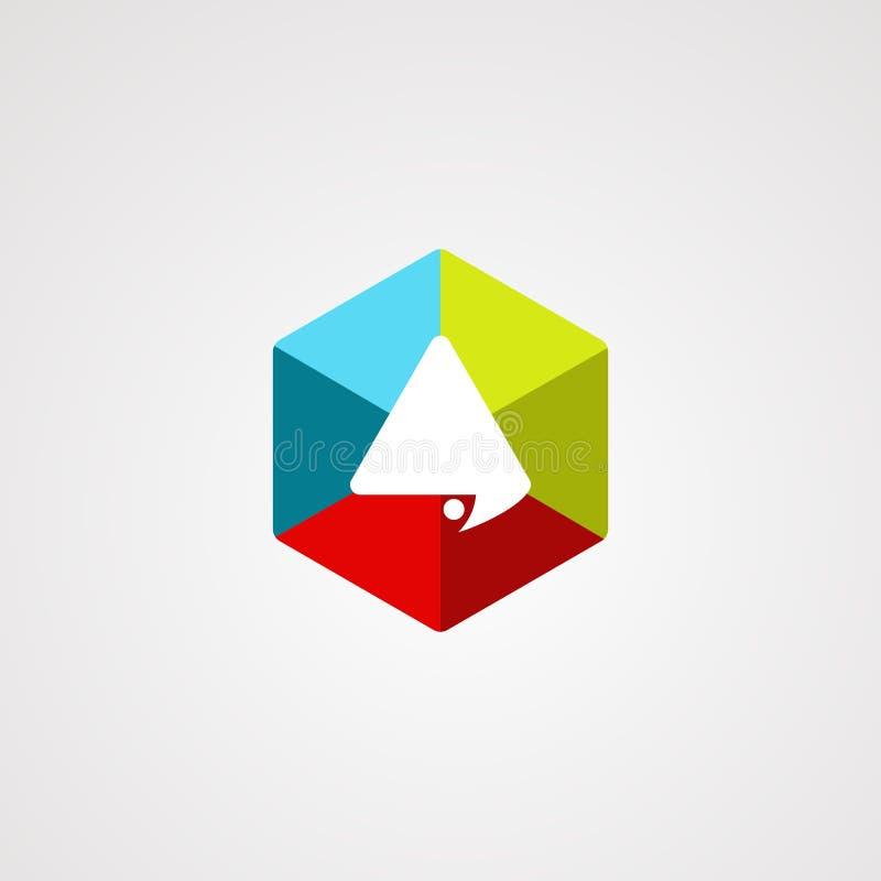 Hexagon vector van het praatjeembleem met modern concept, en kleurrijk voor uw zaken stock illustratie