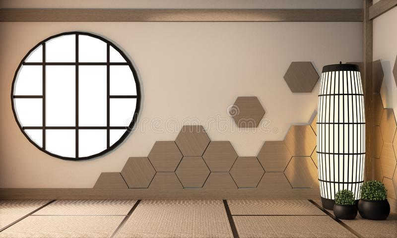 Interior Hexagon wooden tiles on wall and lamp on tatami mat floor, Empty room japanese style.3D rendering stock image