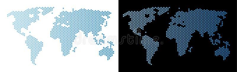 World Map Hexagonal Abstraction stock illustration