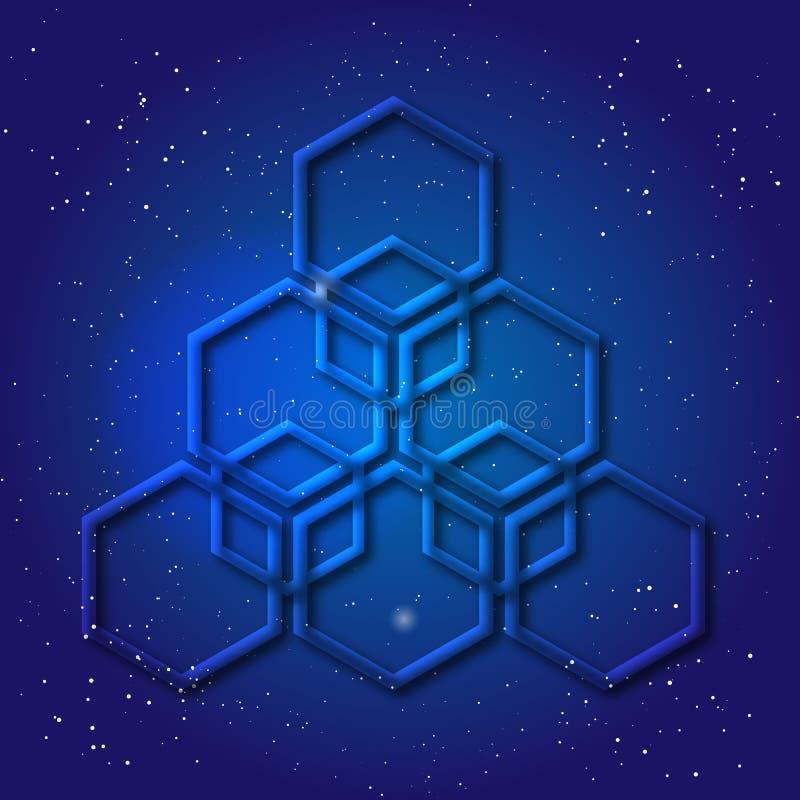 Hexagonaal die 3d ontwerp in kosmische stijl wordt gemaakt Sacral meetkundegeheimzinnigheid raadselachtige vorm Abstract vectorku vector illustratie