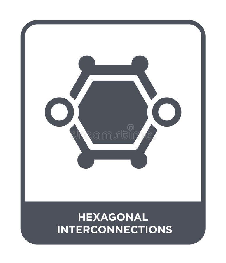 hexagonaal interconnectiespictogram in in ontwerpstijl hexagonaal die interconnectiespictogram op witte achtergrond wordt geïsole royalty-vrije illustratie