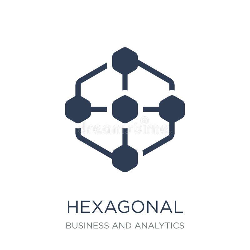 Hexagonaal Interconnectiespictogram In vlakke vector Hexagonaal binnen royalty-vrije illustratie