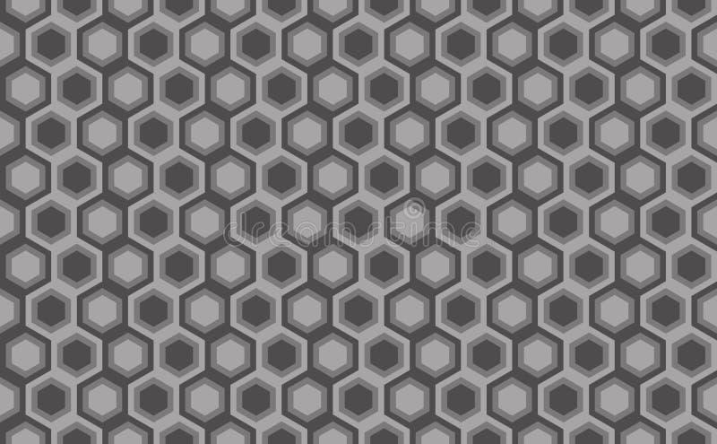 Hexagonaal naadloos patroon Greyscale Industriële textuur, vecto vector illustratie