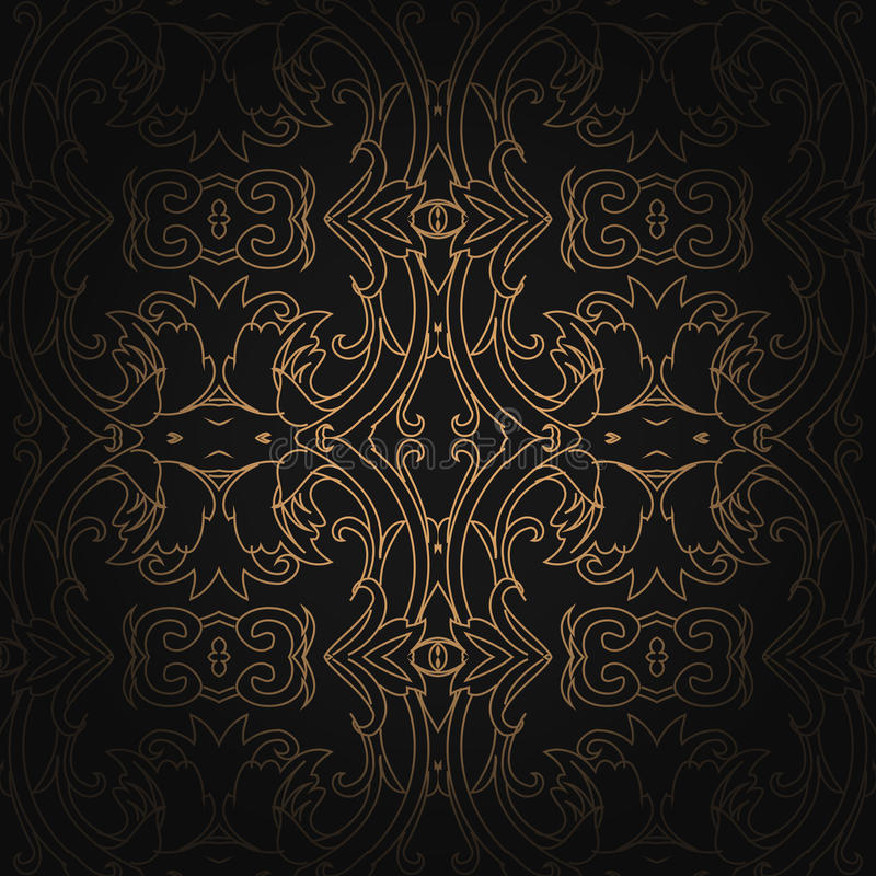 Hexagonaal naadloos uitstekend het behangpatroon van Art Deco vector illustratie
