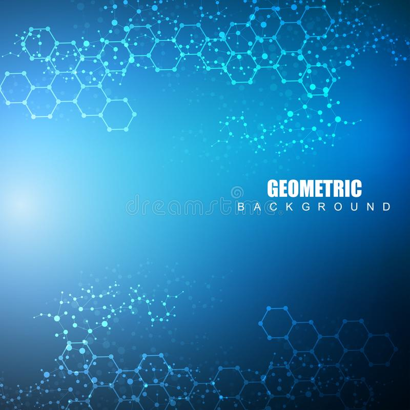 Hexagonal abstract background. Big Data Visualization. Global network connection. Medical, technology, science vector illustration