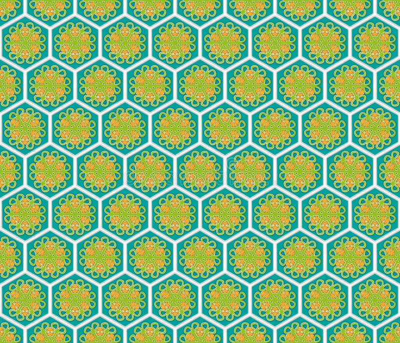Hexagonal abstract floral pattern royalty free illustration