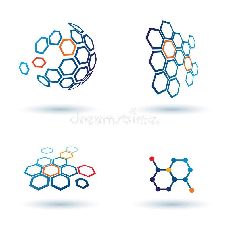 Hexagonal abstract icons, business concepts vector illustration
